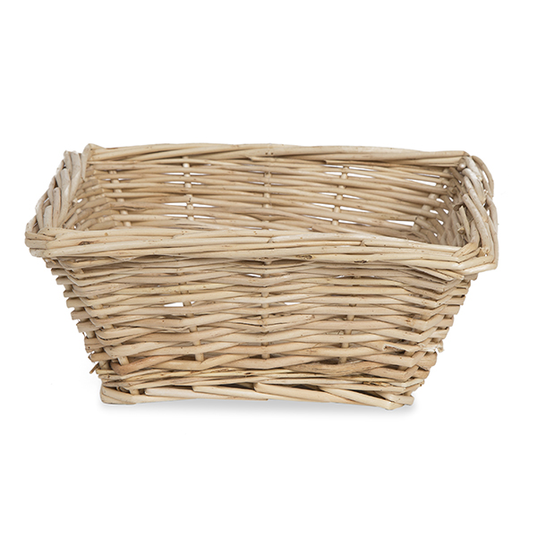 Natural Willow Square Tray Basket - Large 8in