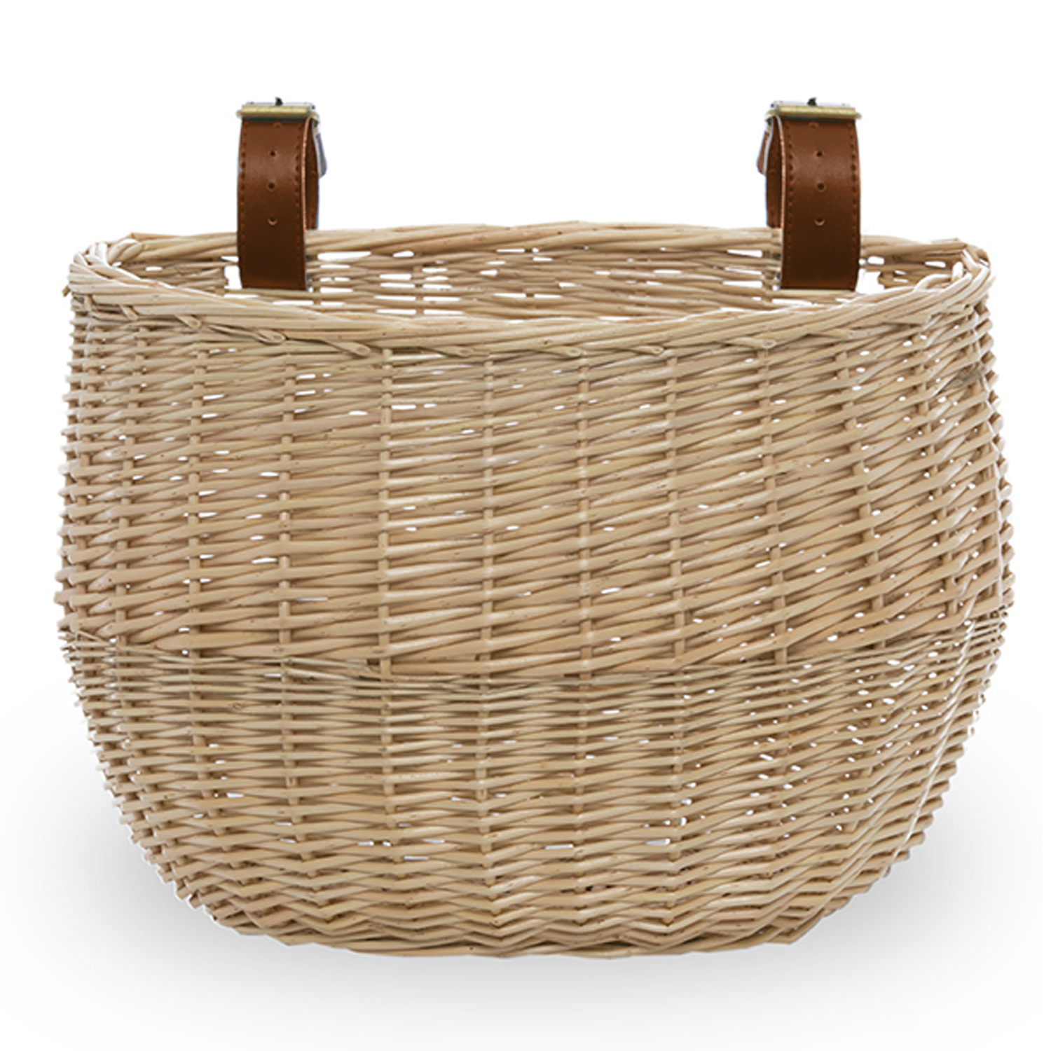 Willow Bicycle Basket with Faux Leather Buckles - 11in