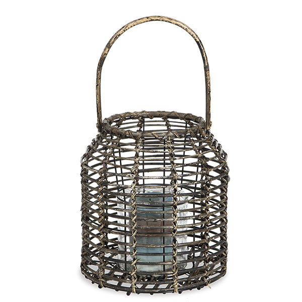 Rattan Lantern With Glass Candle Holder   Wide