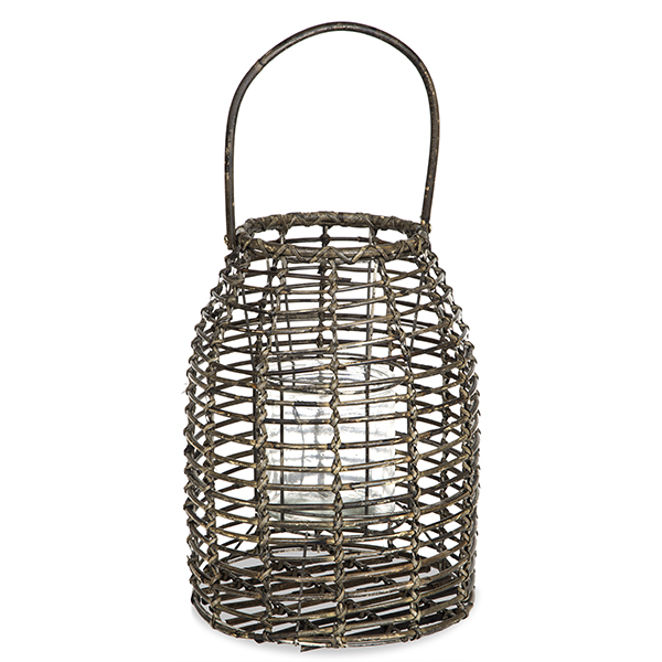 Rattan Lantern with Glass Candle Holder - Small