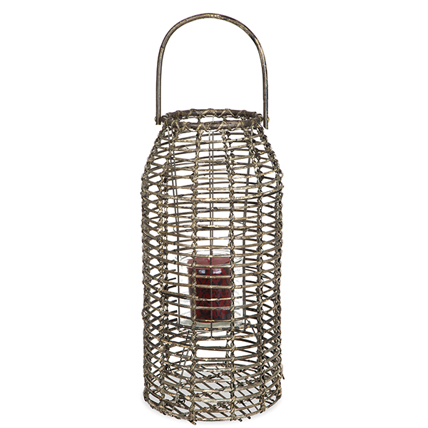 Tall Slim Rattan Lantern with Glass Candle Holder