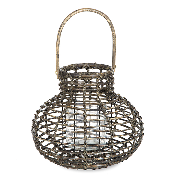 Round Bottom Rattan Lantern with Glass Candle Holder - Small