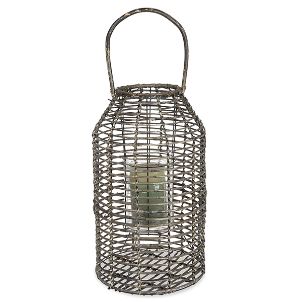 Tall Wide Rattan Lantern with Glass Candle Holder