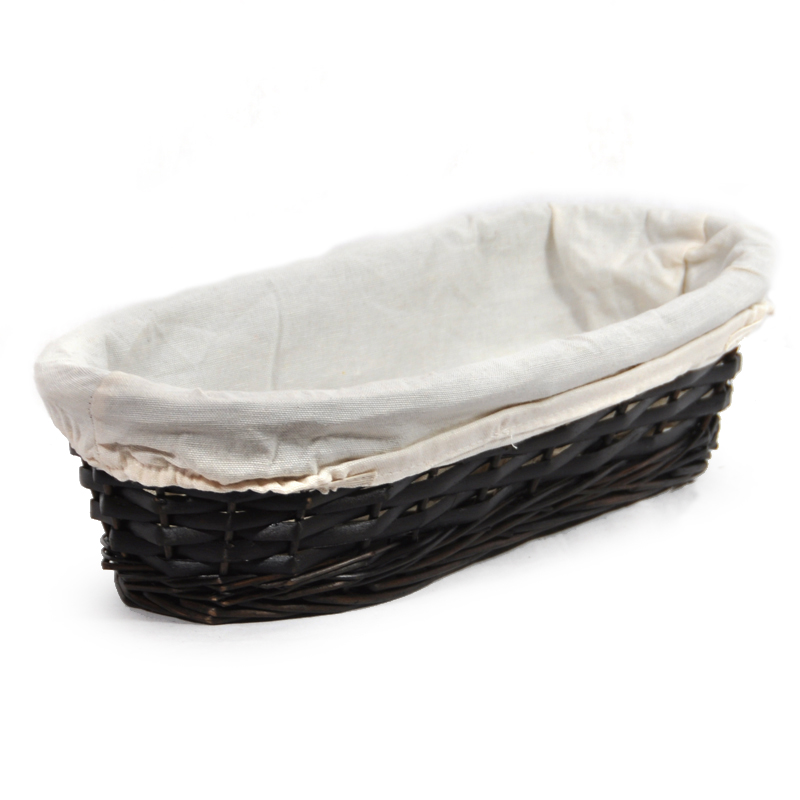 Savannah Oblong Bread Basket with Cloth Liner 14in