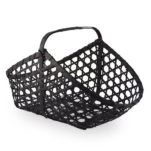 Dark Brown Rect Handle Basket with Round Corners 13in