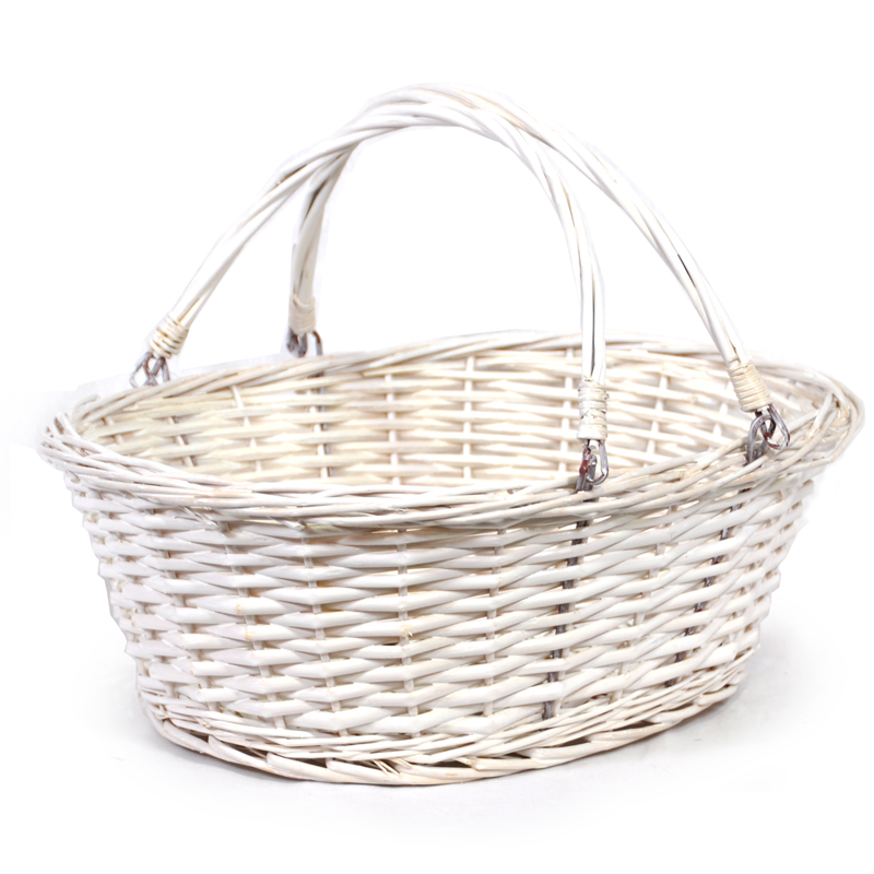 Lucy Medium Willow Shopping Basket - White 14in