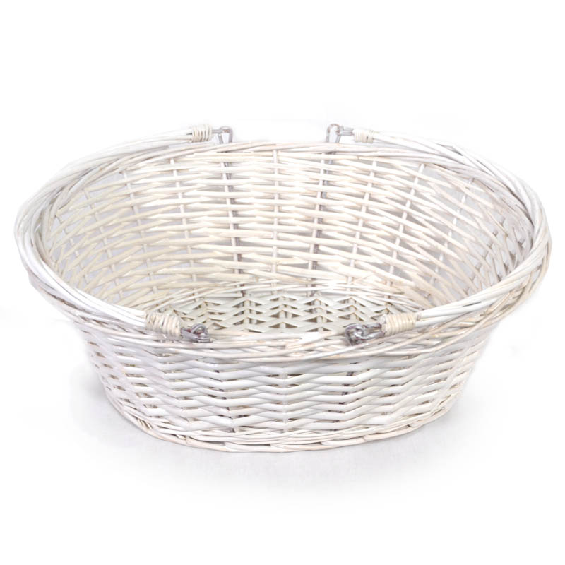 1536f0d674b Lucy Medium Willow Shopping Basket - White 14in
