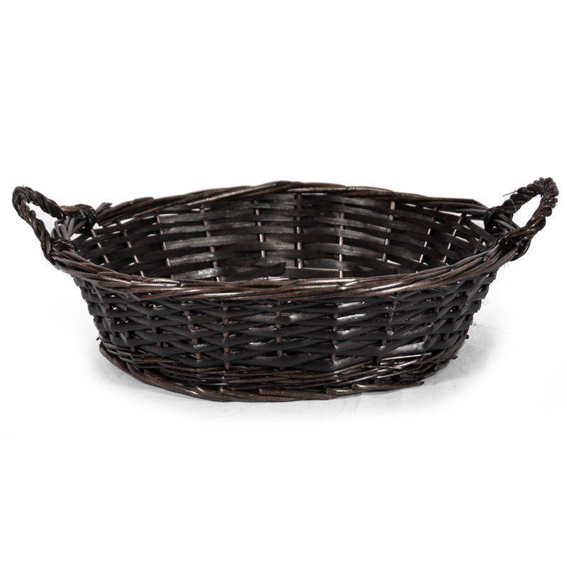 Avery Mahogany Round Tray Basket 12in