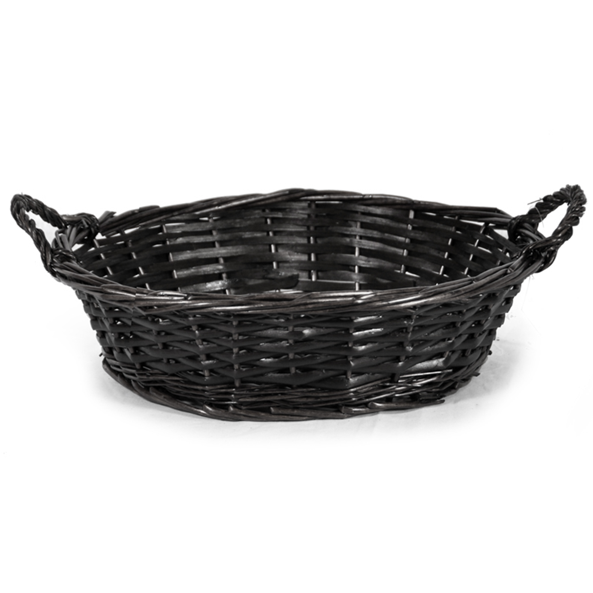Avery Dark Stain Round Tray Basket 12in