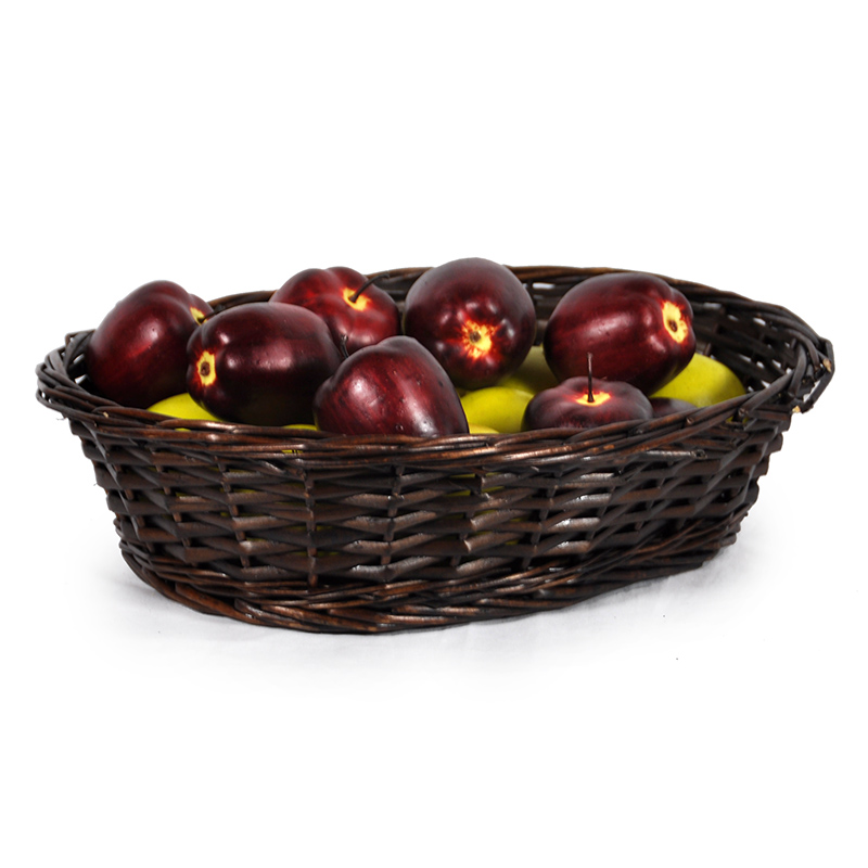 Avery Mahogany Oblong Tray Basket 14in