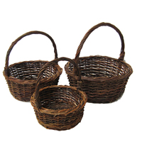 Set of 3 Willow Rustic Round