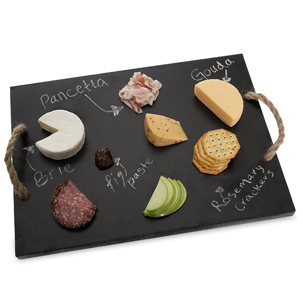 Rect Wooden Cheeseboard with Rope Handles 17in