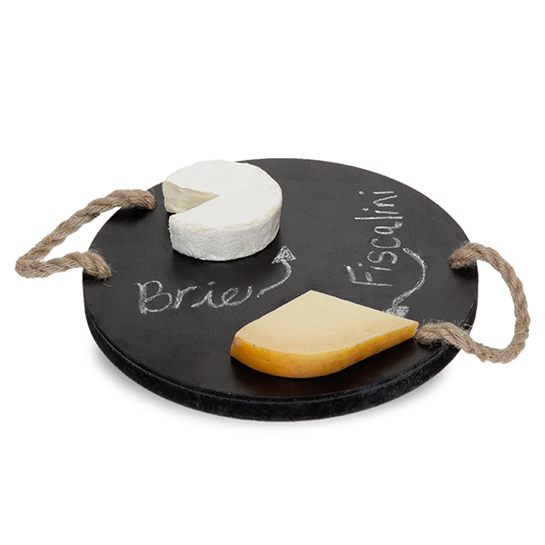 Round Wooden Cheese Board with Rope Handles 10in