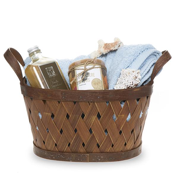 Basket Weaving Handles : Copper oblong woodchip weave ear handle basket small in