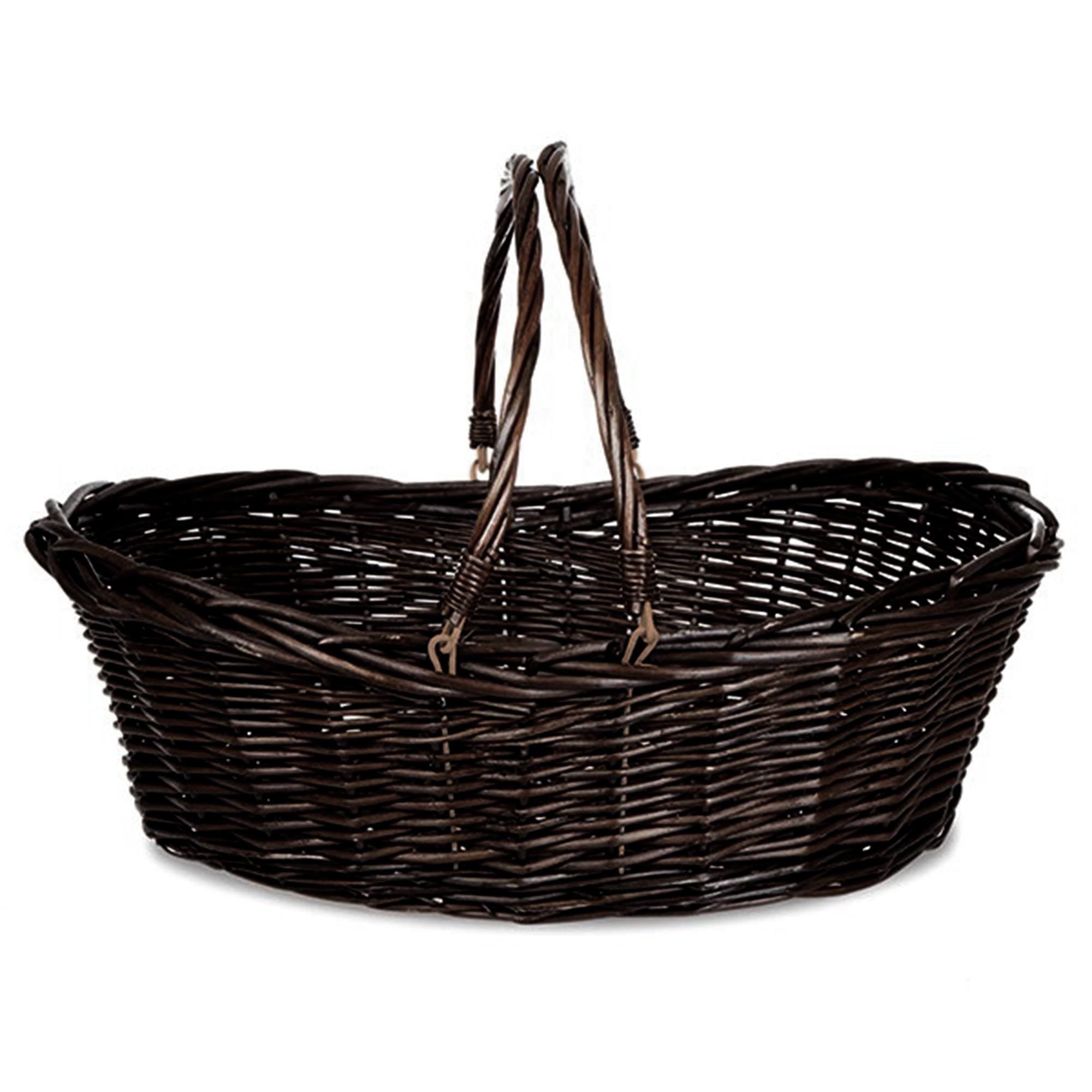 Brown Stain Shopper Wicker Basket 23in