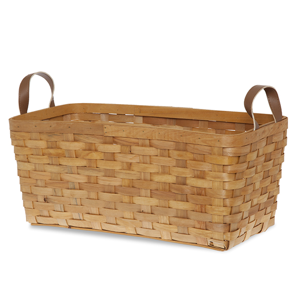 Slim Rect Woodchip Weave Basket Faux Leather Handles 18in
