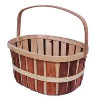 Woodchip Oblong Bushel Bucket with Handle - Rust