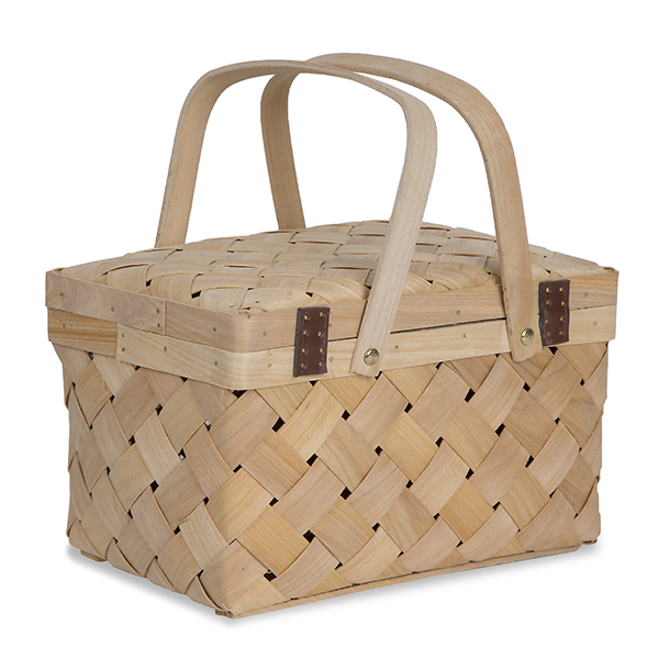 Natural Woodchip Picnic Basket - Small 9in