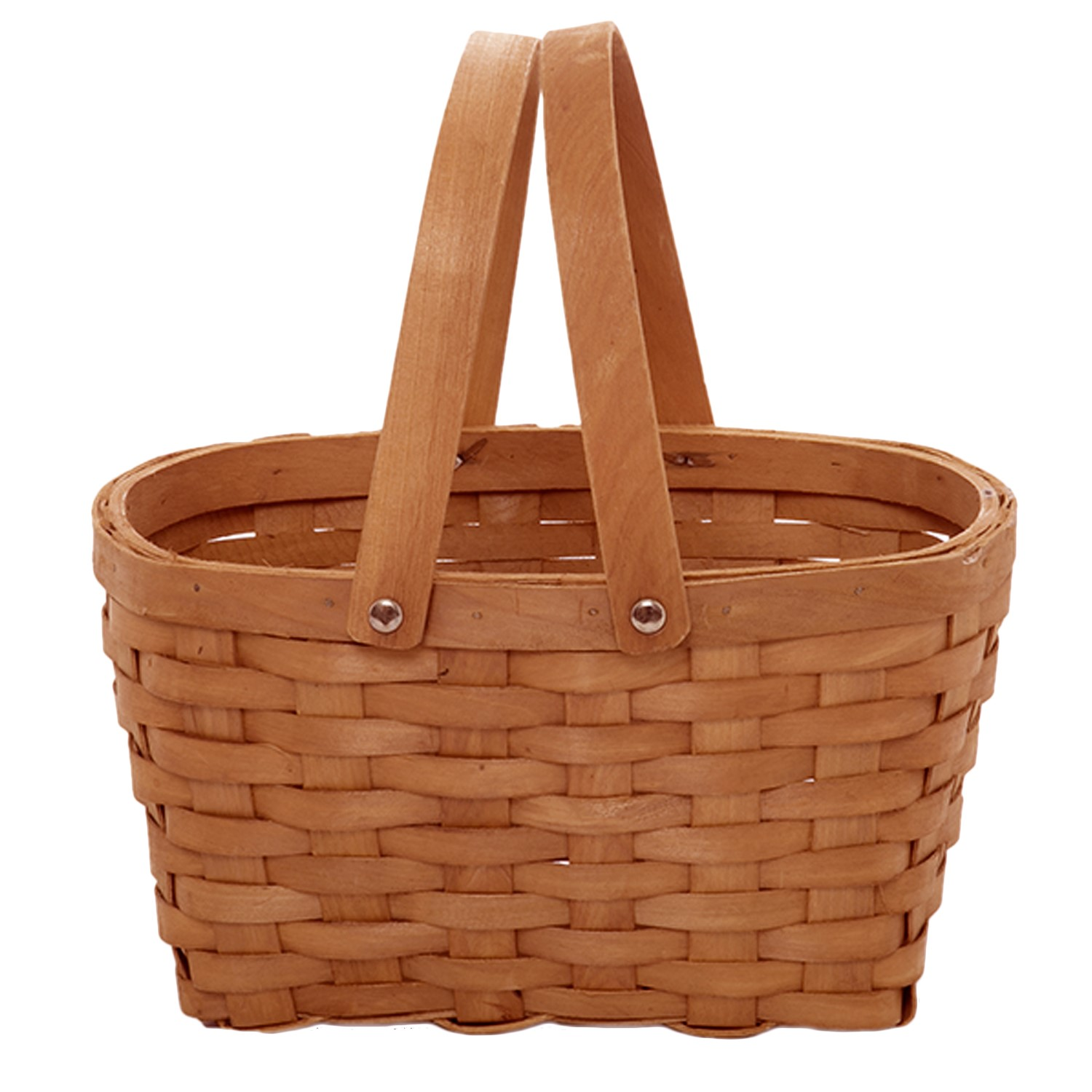Classic Woodchip Weave Oblong Swing Handle Basket 10in