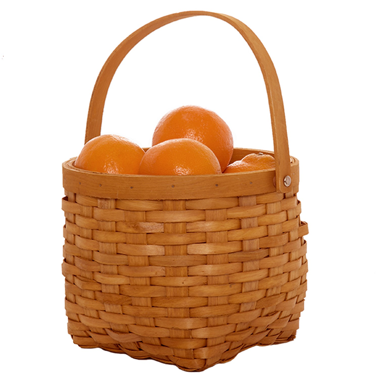 Classic Woodchip Weave Round Swing Handle Basket 7in