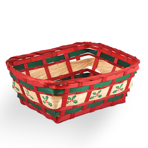 Christmas Holly Rectangular Bamboo Basket 9in