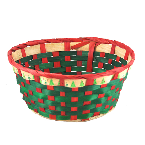 Holiday Tree Round Bamboo Basket 9in