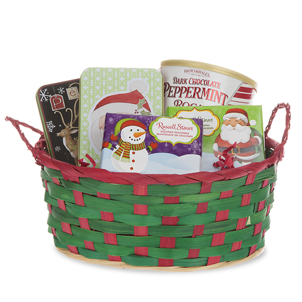 Green with Red Trim Holiday Oblong Basket with Handles 9in