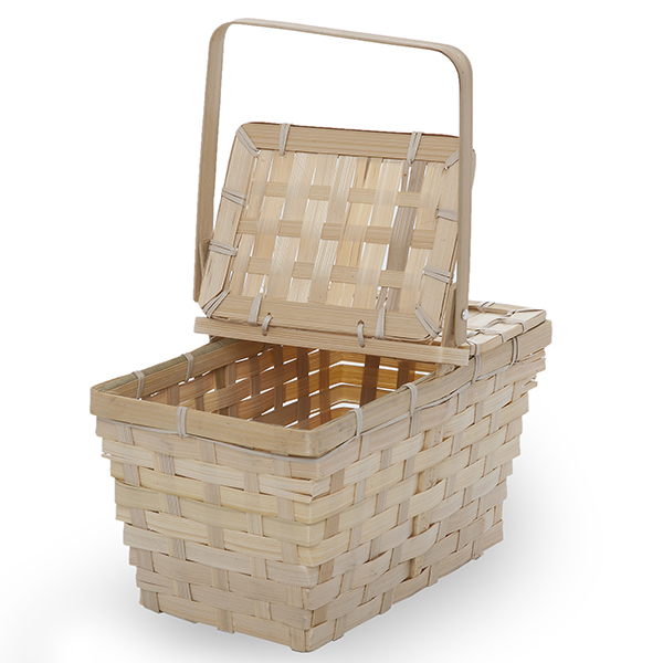 Rect Bamboo Weave Picnic Basket with Lid Small - Natural 10in