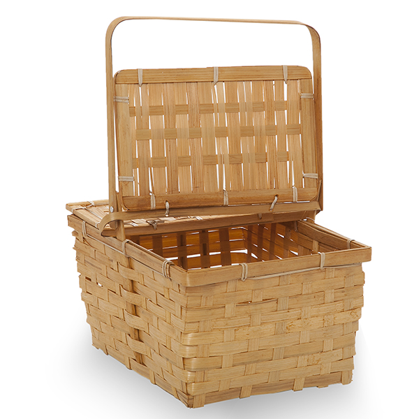 Rect Bamboo Weave Picnic Basket with Lid Med - Honey 11in