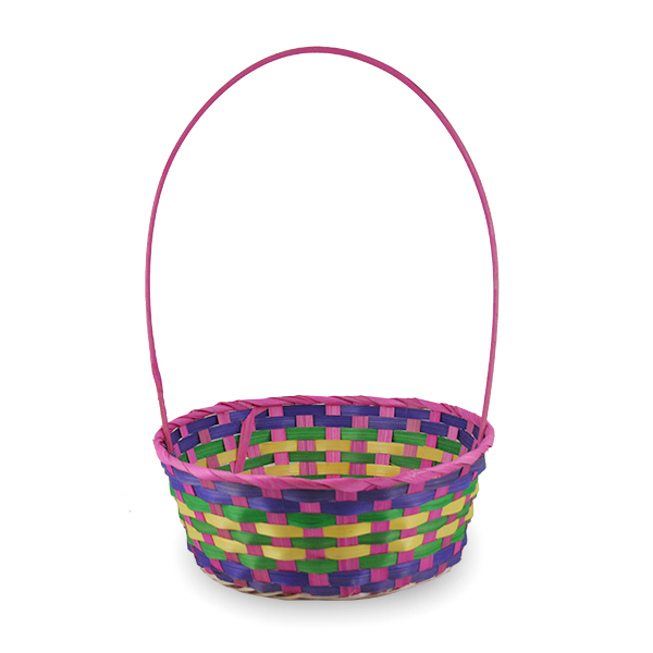 Spring Hot Pink Round Bamboo Handle Basket - Large 10in