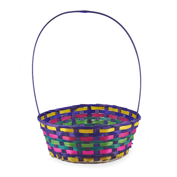 Spring Purple Round Bamboo Handle Basket - Large 10in