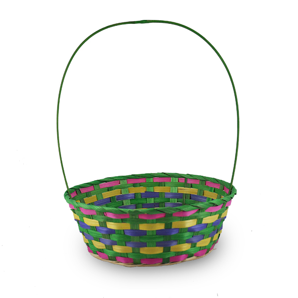 Spring Lime Green Round Bamboo Handle Basket - Large 10in
