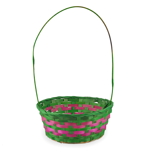 Spring Lime with Pink Round Handle Basket - Medium 9in