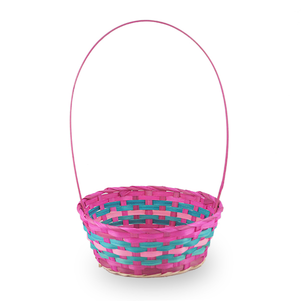 Spring Hot Pink with Turquoise Round Handle Basket - Med 9in