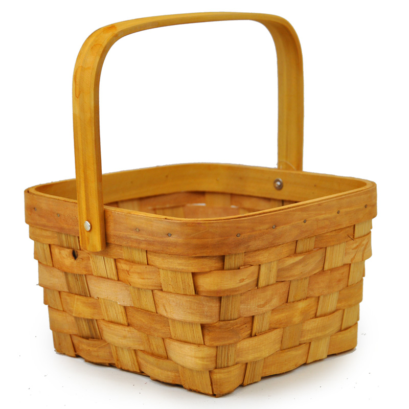 Square Bamboo Woodchip Weave Swing Handle - Small 6in