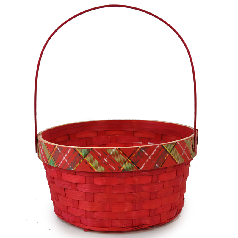Holiday Plaid Red Swing Handle Basket - Large 9in