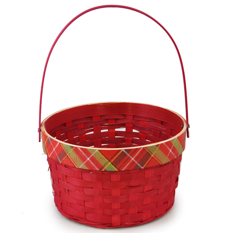 Holiday Plaid Red Swing Handle Basket - Medium 8in