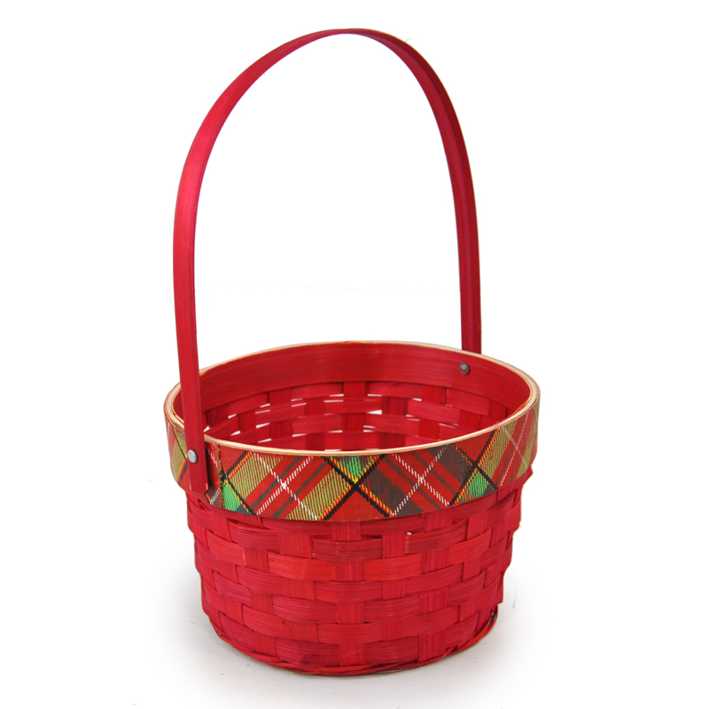 Holiday Plaid Red Swing Handle Basket - Small 6in