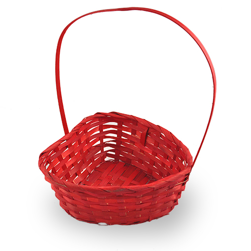 Red Heart Shaped Bamboo Handle Basket - Medium 8in