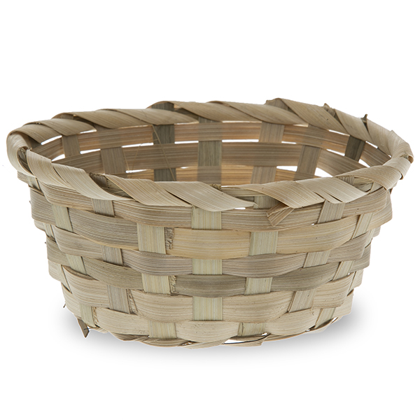 Mini Round Bamboo Tray Basket 5in