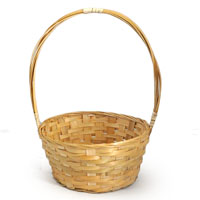 Bamboo 7 Inch Round Handle Basket
