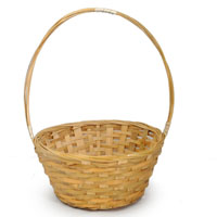 Bamboo 8 Inch Round Handle Basket