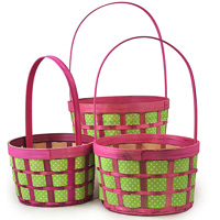 Green Polka Dot Weave Woodchip with Handle - Set of Three