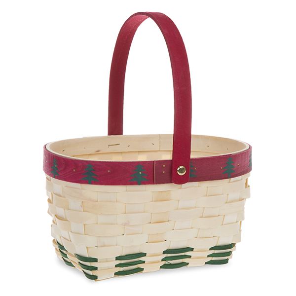 Holiday Tree Oblong Woodchip Handle Basket 9in