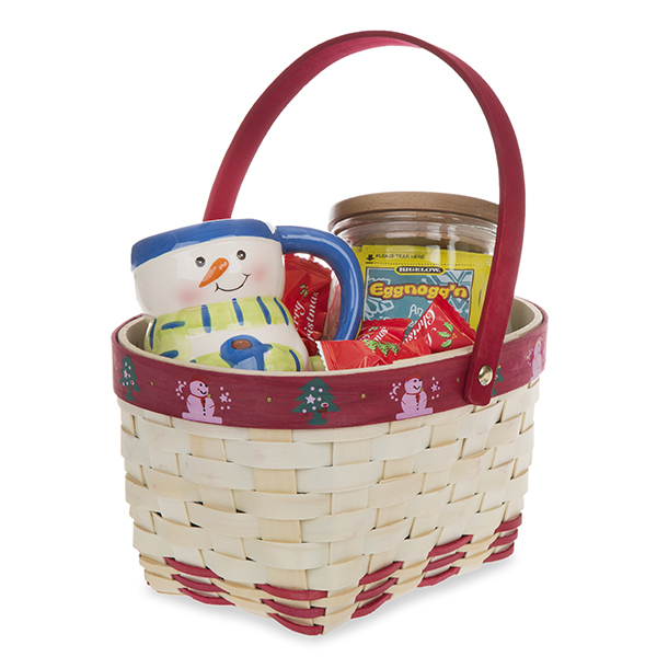 Holiday Snowman and Tree Oblong Woodchip Handle Basket 9in