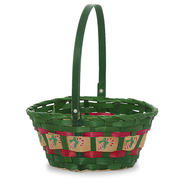 Round Holiday Green Handle Basket 7in
