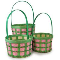 Pink Polka Dot Weave Woodchip with Handle - Set of Three