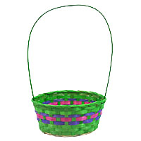 Spring Bamboo Round Handle Basket - Green