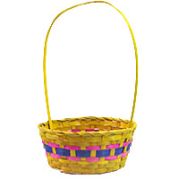 Spring Bamboo Round Handle Basket - Yellow
