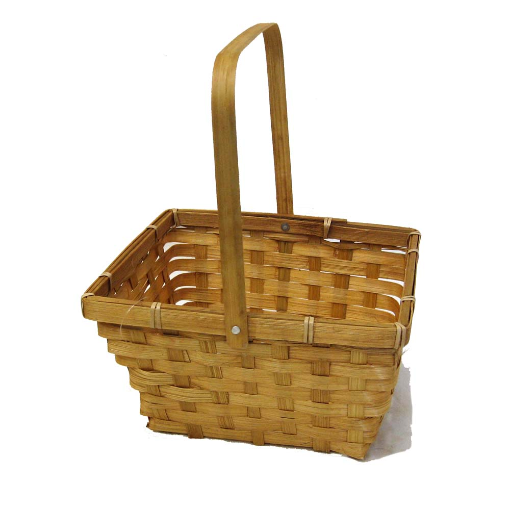 Honey Swing Handle Bamboo Basket 8in